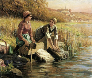 Girls washing clothes in France (Knight, 1898)