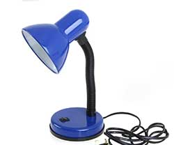 a blue desk lamp