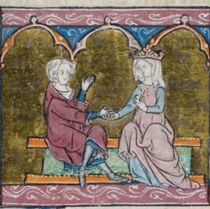 Lancelot and Guinevere, ca. 1320 AD, France(now in the British Library)