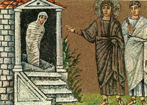 Jesus raises the dead man Lazarus back to the living world (mosaic from Ravenna, 500s AD)