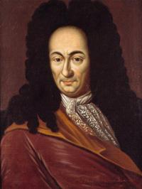 Gottfried Leibniz, a white man with long curly brown hair