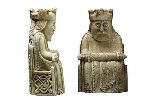 Lewis chessmen, carved in walrus ivory in the 1100s AD, probably in Norway, and found in Scotland