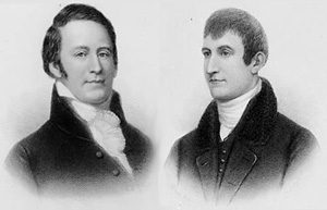 Lewis and Clark: two young white men in very stiff suits
