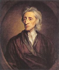 John Locke - an older white man, very thin, with a brown robe on
