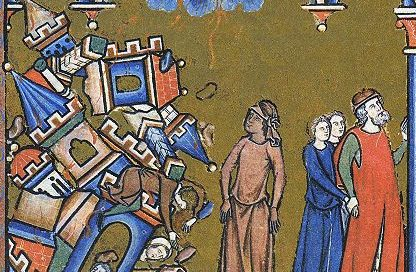 Lot's wife turns to a pillar of salt as God destroys Sodom and Gomorrah. Morgan Bible, France, 1220s AD (commissioned by Louis IX)