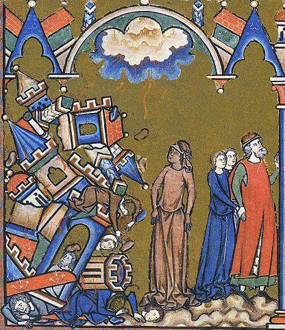 Lot's wife turns to a pillar of salt as God destroys Sodom and Gomorrah.