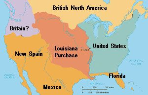 A map showing the Louisiana Purchase