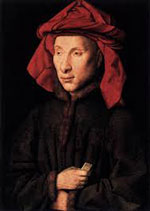 Louis XI, a white man in a red headdress and black robe