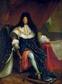 King Louis XIV: a white man in a long curly black wig, in royal robes