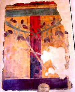 Second Style Roman wall painting (with a wreath added)