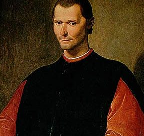 Machiavelli - a young white man with short dark hair