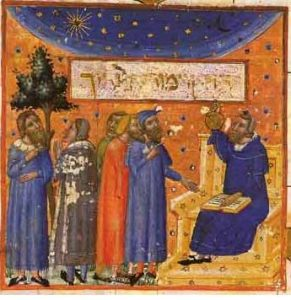 The rabbi Maimonides, in a later medieval painting