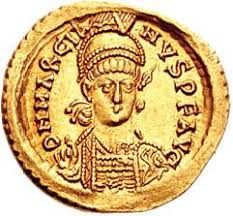 The Roman emperor Marcian on a gold coin