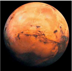 Mars, the way the planet looks from space
