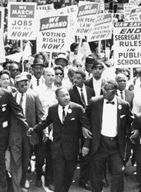 Martin Luther King Jr. leading a protest march
