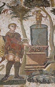 Emperor Maximian sacrifices incenseto the goddess Diana(Piazza Armerina, Sicily, ca. 310 AD)