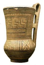 Greek geometric vase, 800s BC (now in the British Museum)