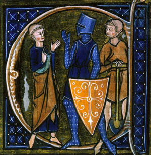 Medieval people: a monk, a knight, and a peasant