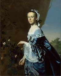 Mercy Otis Warren: A white woman in a different blue dress