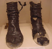 Merovingian boots from about  700 AD (Cluny Museum, Paris).