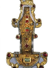 A gold and garnet Merovingian fibula