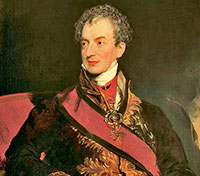 Metternich: a white man with short gray hair in a fancy military outfit