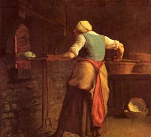 Woman baking bread (Jean Francois Millet, France 1854)