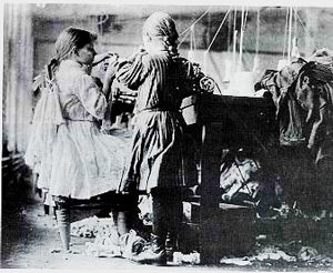 Girls working in a mill, about 1900 AD