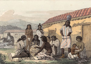 Mission Dolores, California - Native people playing the stick game (1816)