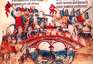 A manuscript illustration of a battle on a bridge - Late medieval Hungary