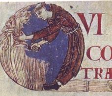 Monk harvesting grain