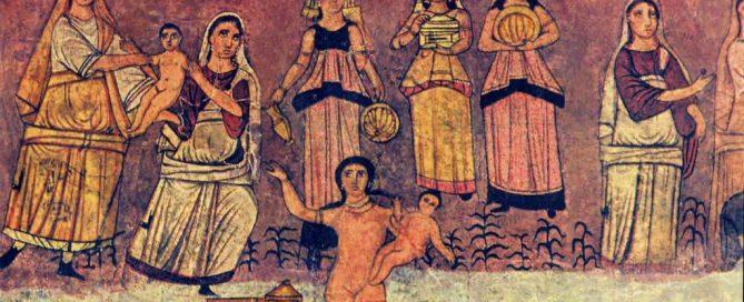 The Pharaoh's daughter picks Moses up out of his basket (synagogue at Dura Europos, Syria, 200s AD)