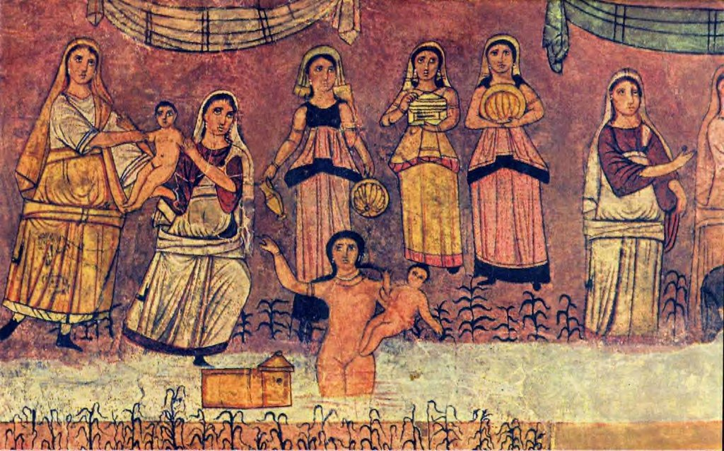 The Pharaoh's daughter picks Moses up out of his basket (synagogue at Dura Europos, Syria, 200s AD)