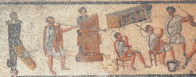 Musicians playing at gladiatorial games, from a floor mosaic in Tripoli (Libya)