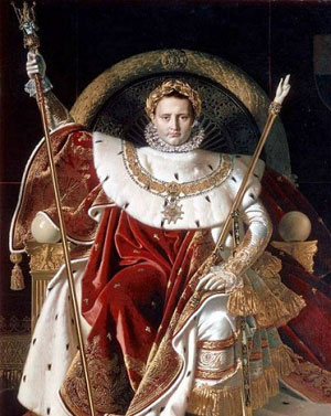 Napoleon in 1806: A white man sitting on a throne in royal robes