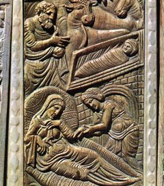 Jesus, Mary, and Joseph, in a medieval ivory carving