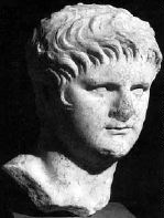 Nero: a stone head of a mean-looking young man with no beard