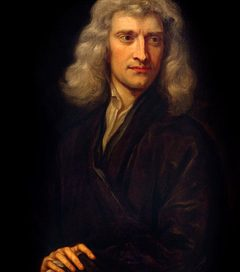 Isaac Newton: a young white man with long hair