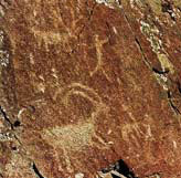 Nez Perce pictograph carved into a rock