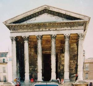 A Roman temple in Nimes, in southern France