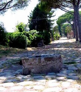 In Ostia, after the aqueducts broke down, people dug wells for water right in the middle of the street.