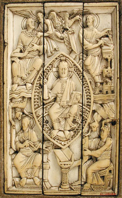 Evangelists on an ivory plaque, Cologne(?), ca. 1000 AD (Now in Metropolitan Museum, New York)
