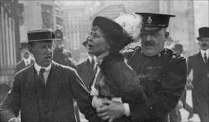 Pankhurst arrested while protesting for the right to vote (about 1908)