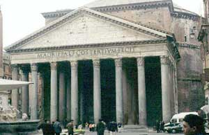 A Roman temple with eight columns and a pediment. Pantheon, Rome, around 120 AD. Roman Pantheon.