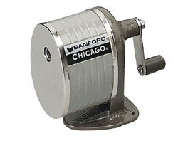 A pencil sharpener with a hand crank