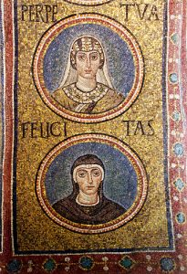 Mosaic of Perpetua and Felicitas, from Ravenna in the 500s AD