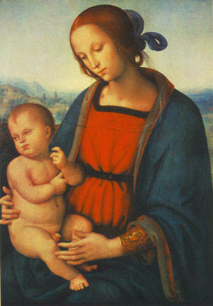 Perugino's Mary and Jesus in oil paint (1501)