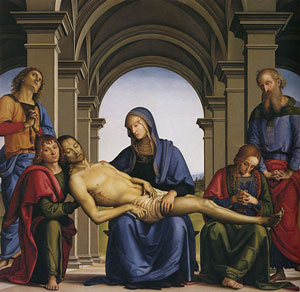 Mary holding Jesus after the Crucifixion (Perugino, about 1490)