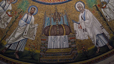 Peter and Paul, in a mosaic from Ravenna (500s AD)