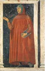Petrarch: a white man in long red robes holding a book